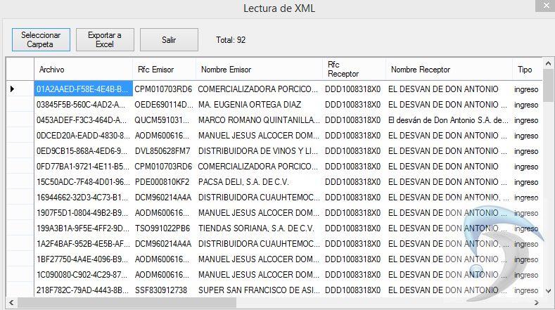 Exportar Xml a Excel