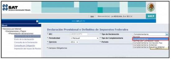 Declaraciones complementarias esquema anterior servicio de declaraciones y pagos