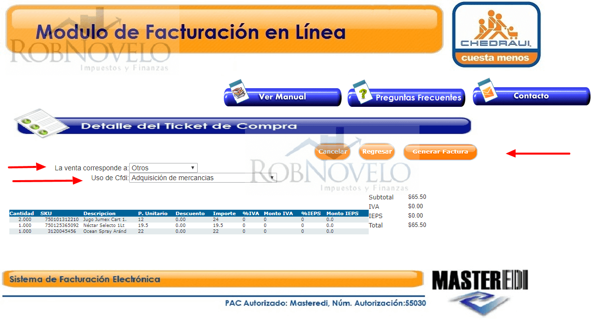 factura ticket chedraui