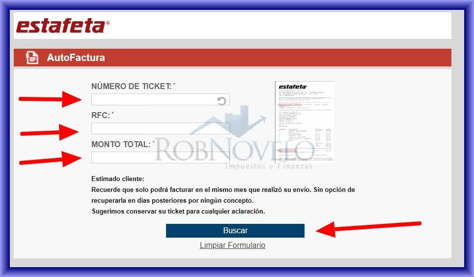facturar ticket estafeta
