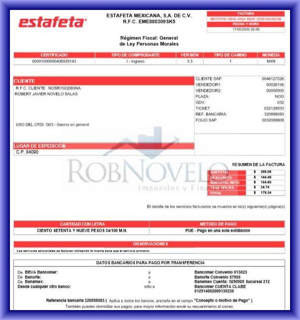 factura estafeta mexicana